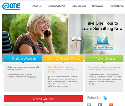 The At One Project provides webinars, online, and self-paced training targeted for Community College instructors