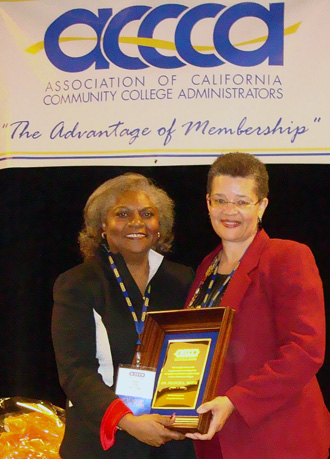 Fran White, President/Superintendent of College of Marin accepts the 2010 Harry Buttimer Distinguished Administrator Award.