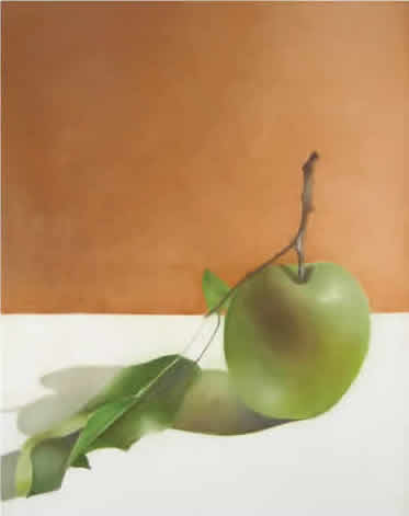 Painting of a green apple on a table